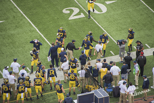 Coach Harbaugh congratulates players after good play as they leave the field at the September 10, 2016 military appreciation game. U of M defeated UCF 51-14