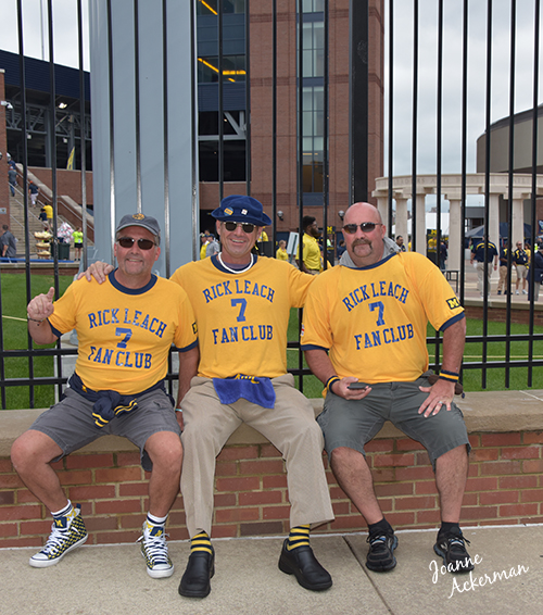 All the way from Ontario Canada, members from Rick Leach Fan Club pose for a photograph outside Michigan Stadium before the September 10, 2016 military appreciation game. U of M defeated UCF 51-14.