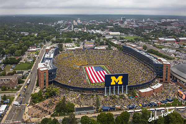 At the September 10, 2016 Military Appreciation game, the University of Michigan Marching Band half time show honored American's Military branches, America's heroes and remembered 9/11. A huge American Flag covered the entire field as the U of M Marching band played on the sidelines. The storms held off long enough for the U of M to defeat UCF 51 - 14.